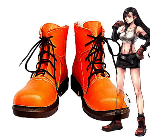 Final Fantasy VII FF7 Tifa Lockhart Cosplay Boots Orange Shoes Custom Made