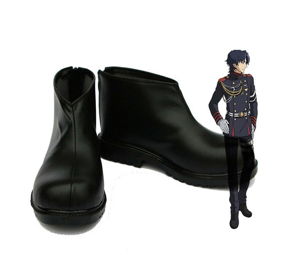 Seraph of the End Guren Ichinose Cosplay Shoes Black Boots Custom Made