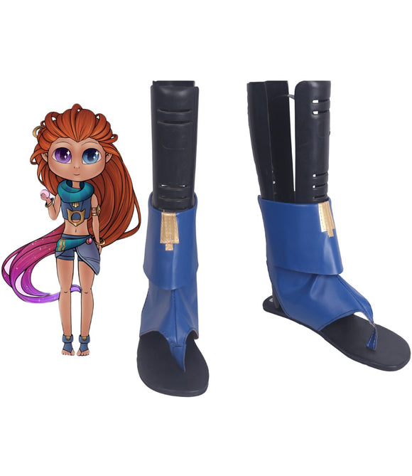 League of Legends LOL Aspect of Twilight Zoe Blue Boots Cosplay Leather Shoes Custom Made