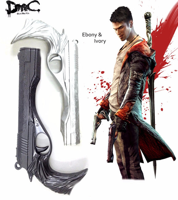 Devil May Cry Yougth Dante Two Pistols Ebony and Ivory Gun Cosplay Accessories for Halloween Party Cosplay