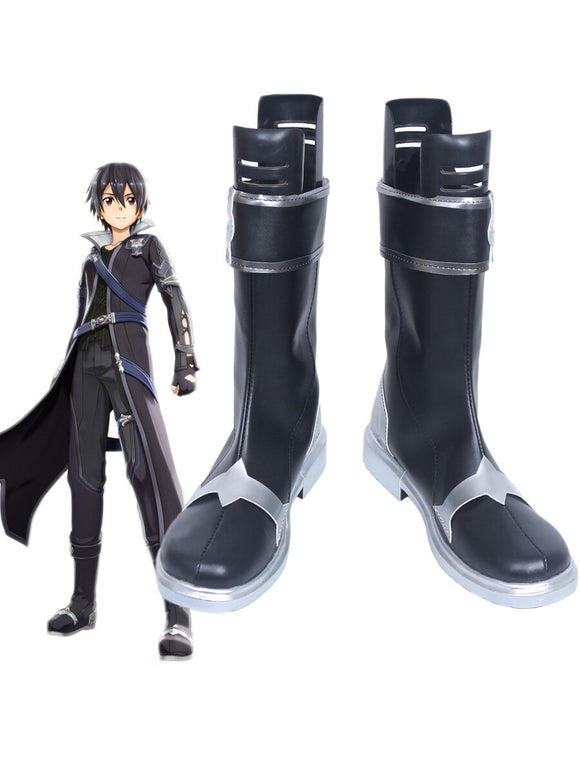 Sword Art Online Hollow Realization Kirito Cosplay Boots Black Shoes Custom Made