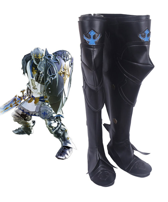 Final Fantasy XIV FF14 Dark Knight Paladin Cosplay Boots Black Shoes Custom Made
