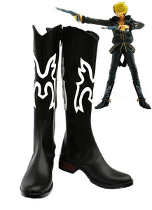One Piece Vinsmoke Sanji Cosplay Boots Black Shoes Custom Made
