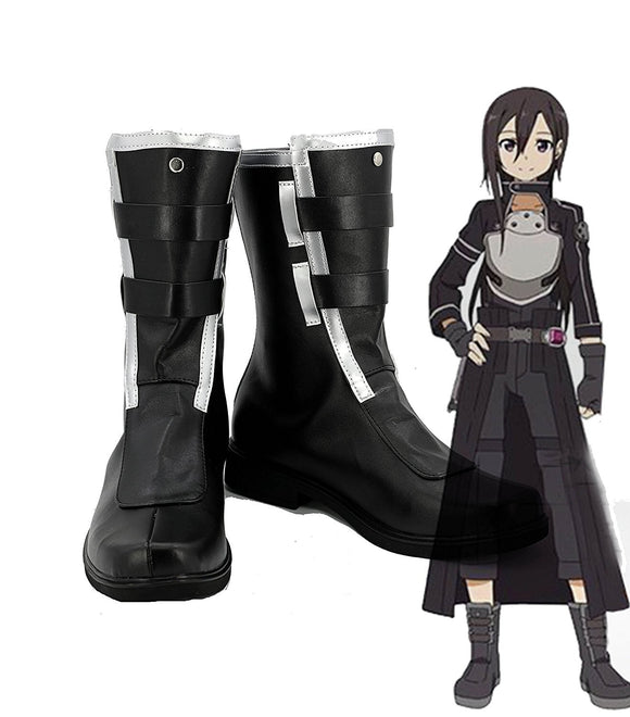 Sword Art Online Fatal Bullet Kirigaya Kazuto Kirito Cosplay Boots Black Shoes Custom Made