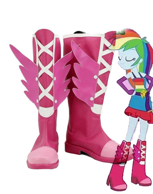 My Little Pony Equestria Girls Rainbow Rocks Rainbow Dash Cosplay Boots Pink Shoes Custom Made