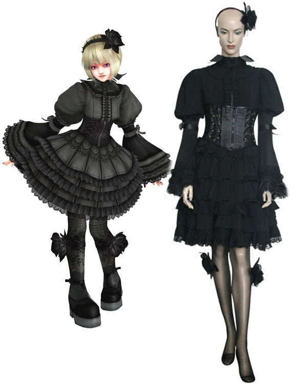 King of Fighters Maximum Impact2 Ninon Beart Black Dress Cosplay Costume