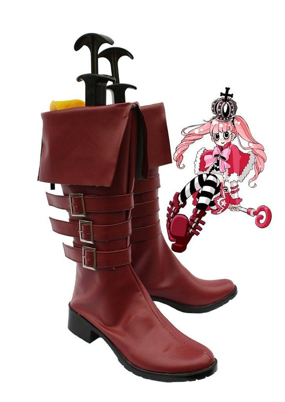 One Piece Perona Cosplay Shoes Brown Boots Custom Made