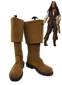 Pirates of the Caribbean Jack Sparrow Cosplay Boots Brown Shoes Custom Made