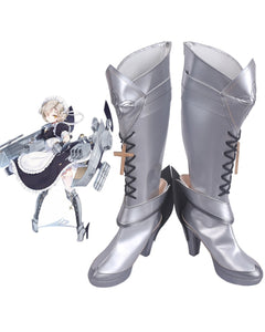 Azur Lane HMS Sheffied Cosplay Boots Silver Shoes Custom Made Any Size