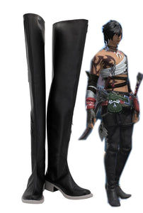 Final Fantasy14 FF14 Demonic Long Boots Cosplay Black Shoes Custom Made