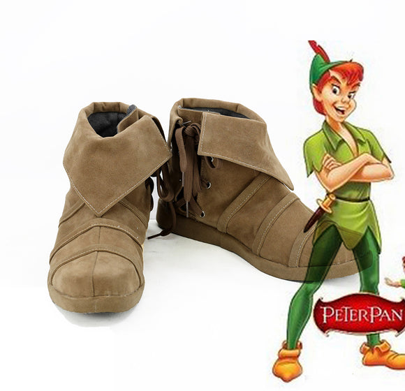 Peter and Wendy Peter Pan Cosplay Boots Brown Shoes Custom Made