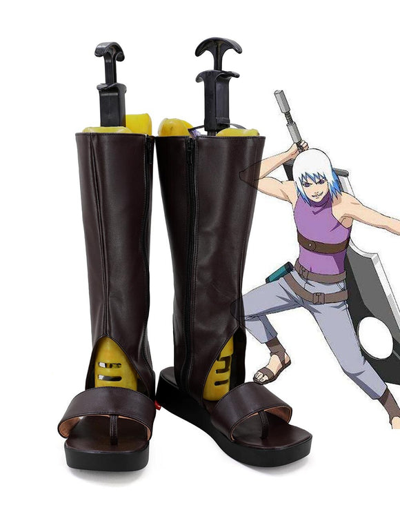 Naruto Hohzuki Suigetsu Cosplay Boots Kijin no Sairai Brown Shoes Custom Made