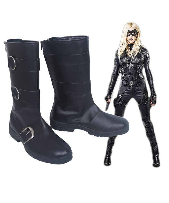 Green Arrow Black Canary Captain Sara Lance Cosplay Boots Black Shoes Custom Made