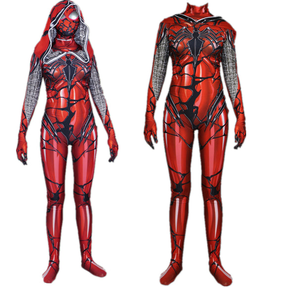 Superhero Spiderman Red Carnage Venom Scarlet Blood Jumsuit Cosplay Costume Gwen Stacy Bodysuit for Female