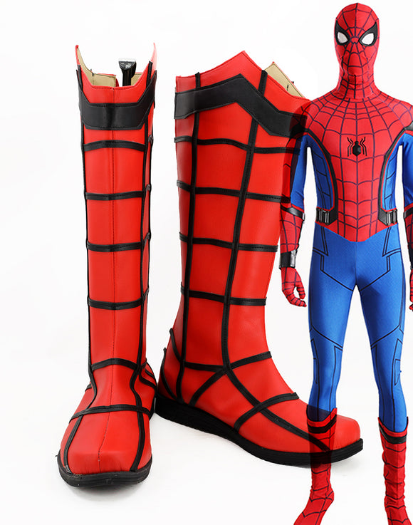 Superhero Spiderman Cosplay Boots Spider-man Red Long Boots Leather Shoes Cosplay Custom Made