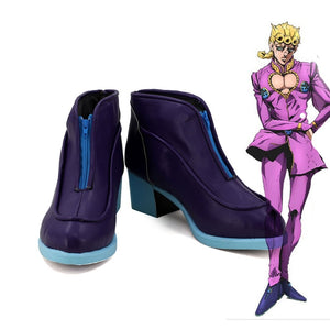 JOJO's Bizarre Adventure Golden Wind Giorno Giovanna Cosplay Boots Purple Shoes Custom Made