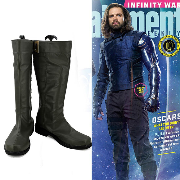 Avengers 3 Infinity War Winter Soldier Bucky Barnes Cosplay Boots Black Shoes Custom Made