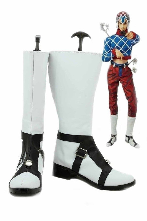JOJO'S BIZARRE ADVENTURE 5 GUIDO MISTA Cosplay Boots White Shoes Custom Made