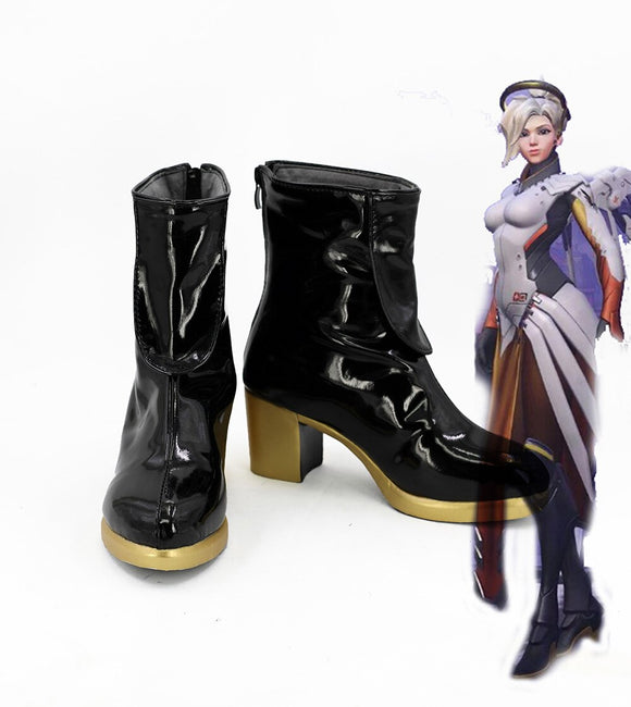 Overwatch Mercy Angela Ziegler Black Cosplay Boots OW Angela Ziegler Leather Shoes Custom Made
