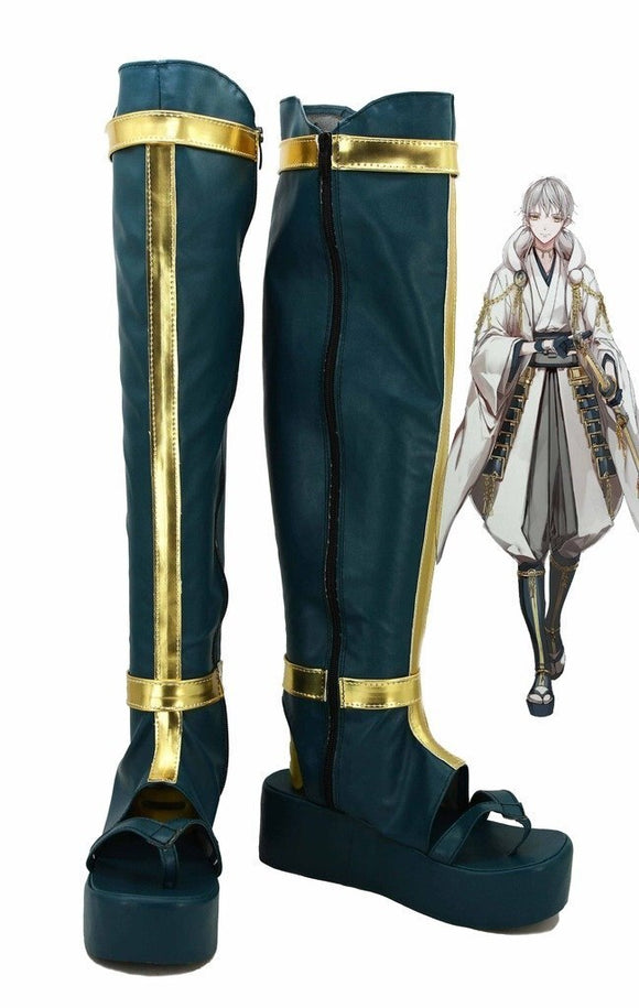 Touken Ranbu Online Tsurumaru Kuninaga Cosplay Boots Green Shoes Custom Made