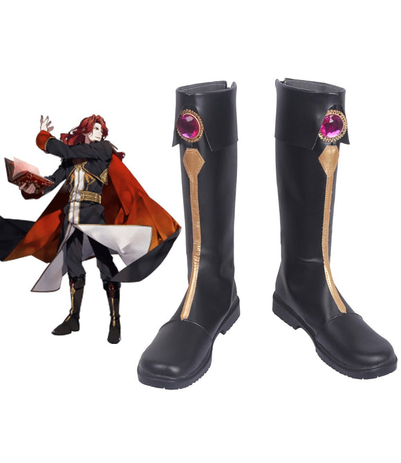 Fire Emblem Genealogy Of The Holy War Arvis Cosplay Boots Black Shoes Custom Made Any Size