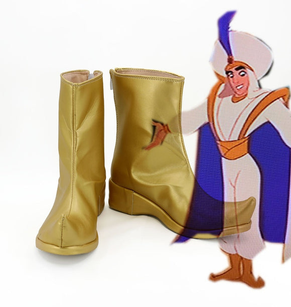 Aladdin Cosplay Boots Golden Shoes Custom Made Any Size