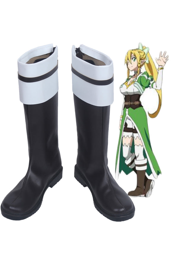Sword Art Online Leafa Kirigaya Suguha Cosplay Boots Leather Shoes Custom Made Any Size