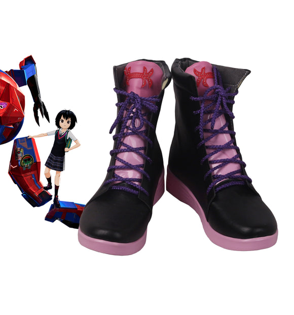 Spider-Man: Into the Spider-Verse Peni Parker Cosplay Boots Black Shoes Custom Made Any Size