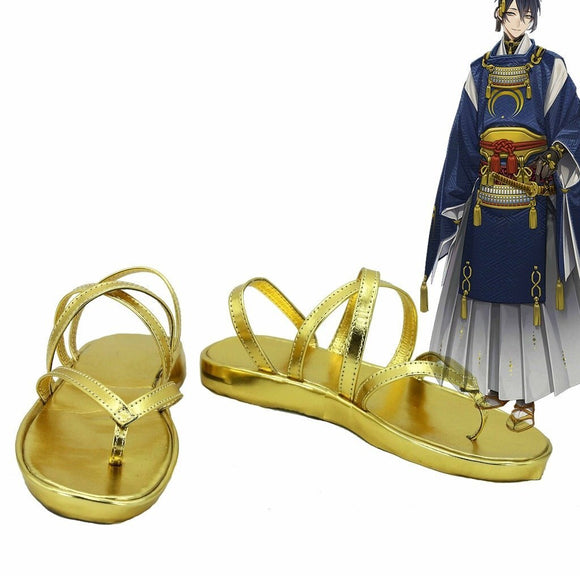 Touken Ranbu Online Mikazuki Munechika Cosplay Shoes Golden Sandals Custom Made