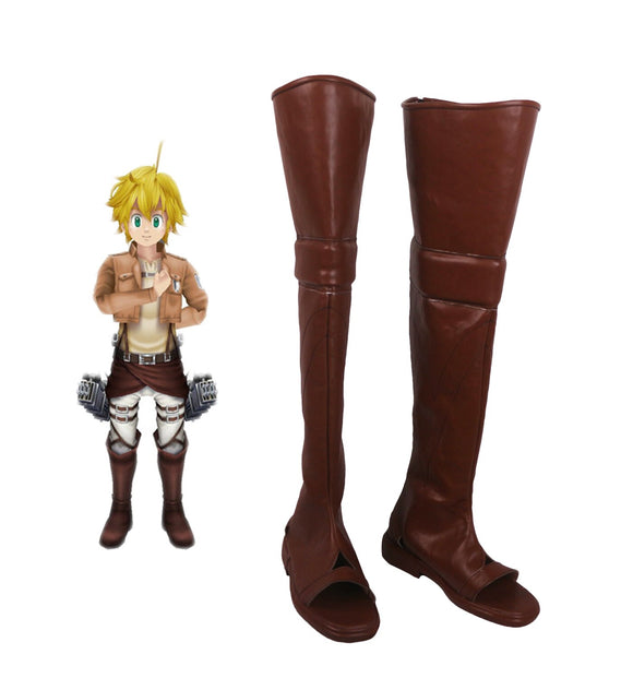 The Seven Deadly Sins Meliodas Attack On Titan Cosplay Boots Brown Custom Made Shoes for Unisex
