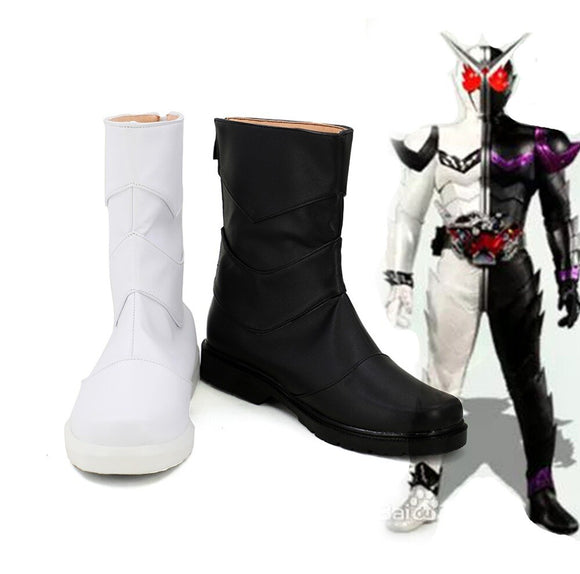 Kamen Rider Double Fang Joker Cosplay Boots Masked Rider Joker Black White Shoes Custom Made