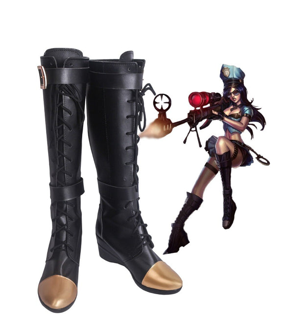 League of Legends LOL Caitlyn the Sheriff of Piltover Cosplay Boots Black Shoes Custom Made
