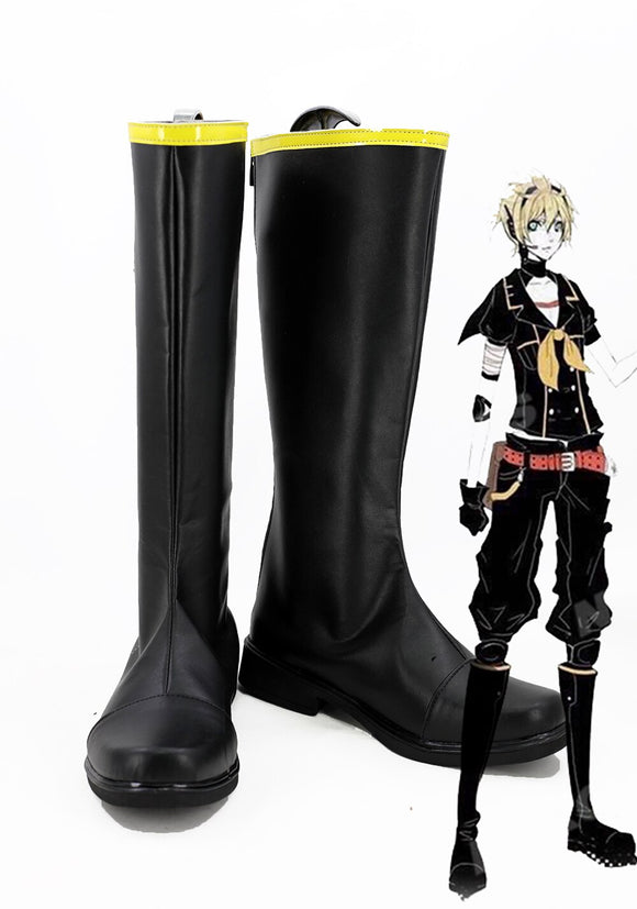 Vocaloid Kagamine Rin Re Hatsune Miku Cosplay Boots Black Shoes Custom Made