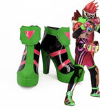 Kamen Rider Ex-Aid Exaid-genm Cosplay Boots Green Shoes Masked Rider Ex-Aid Exaid-genm High Heel Boots Custom Made