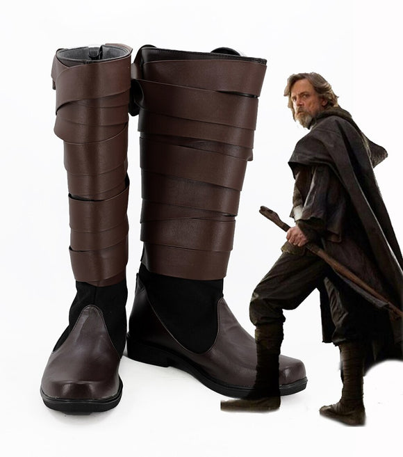 Star Wars 8 Skywalker Luke Cosplay Boots Brown Shoes Custom Made
