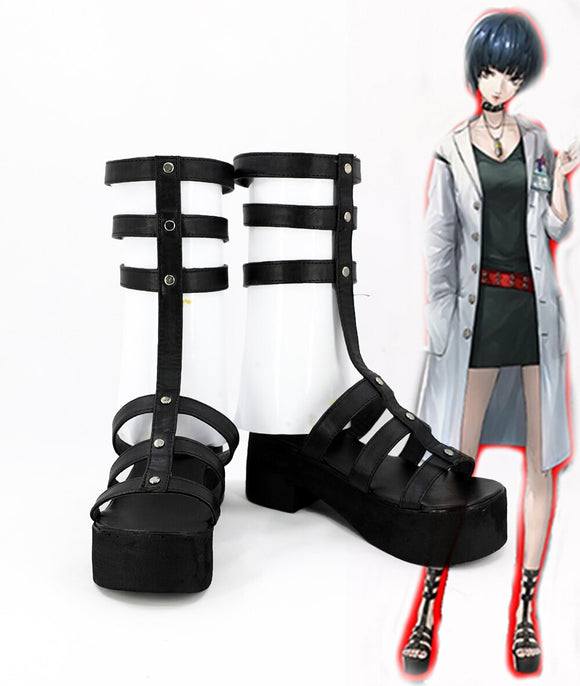 Persona 5 Tae Takemi Cosplay Boots Black Sandals Custom Made Any Size