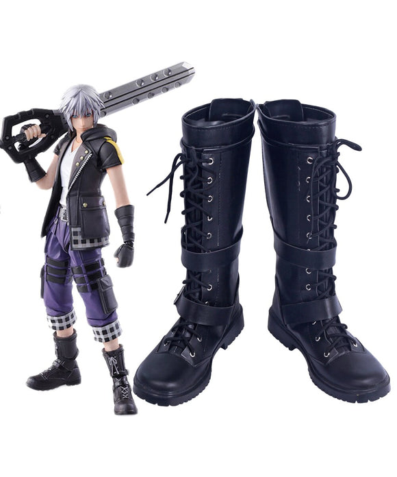 Kingdom Hearts 3 Bring Arts Riku Cosplay Boots Black Shoes Custom Made