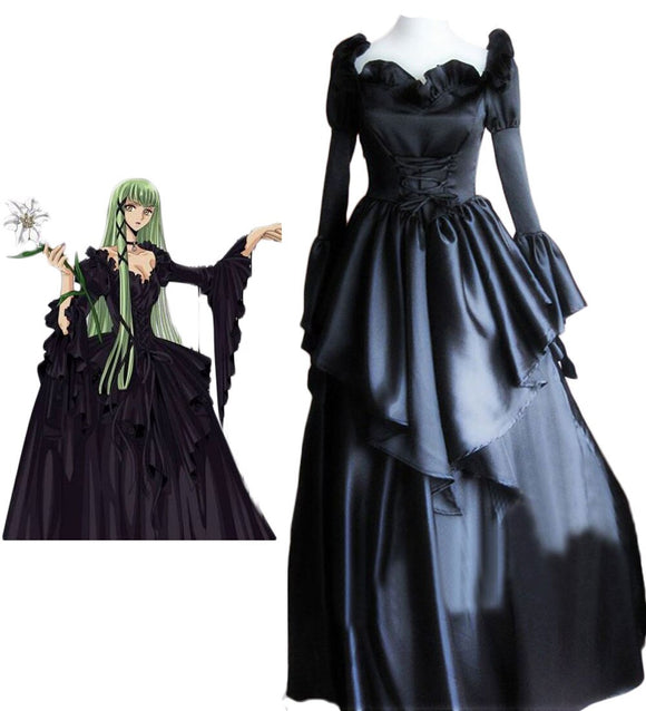 Code Geass C.C. Lolita Black Dress Cosplay Costume