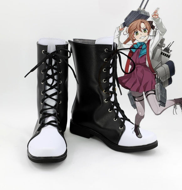 Kantai Collection Akigumo Cosplay Boots Black Shoes Custom Made