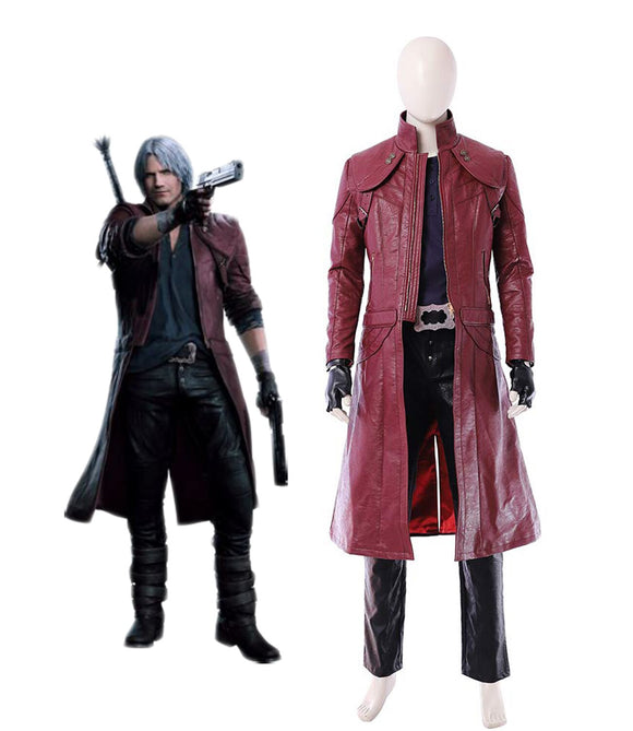Devil May Cry5 Dante Cosplay Costume Deluxe Leather Full Set Custom Made Any Size for Unisex