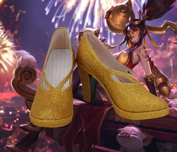 League of Legends LOL the Night Hunter Shauna Vayne Golden Shoes Cosplay High Heel Boots