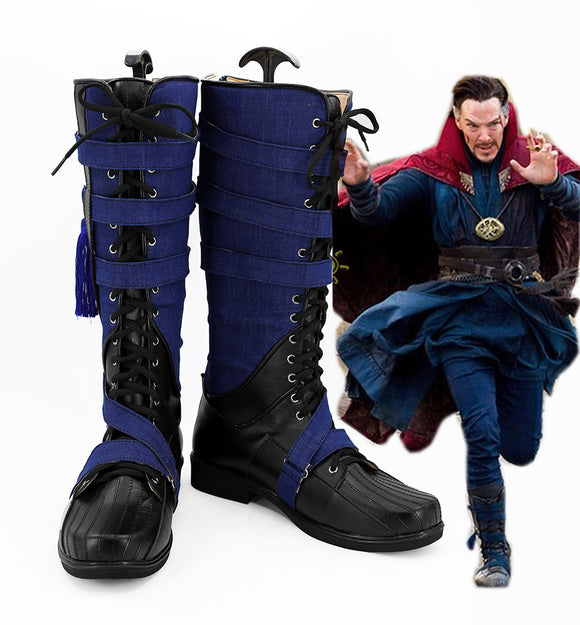 Superhero Doctor Strange Cosplay Boots Blue Shoes Custom Made Any Size