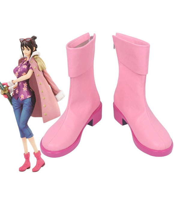 One Piece Tashigi Cosplay Boots Pink Shoes Custom Made