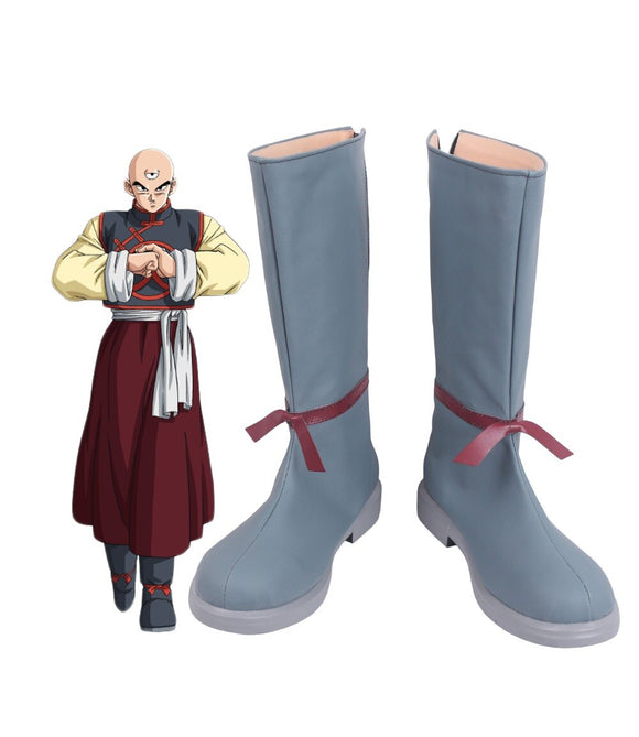 Dragon Ball Tien Shinhan Cosplay Boots Grey Shoes Custom Made