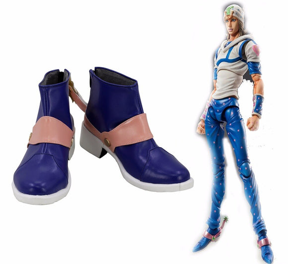 JoJo's Bizarre Adventure7 Steel.Ball.Run Johnny Joestar Cosplay Boots Blue Shoes Custom Made Any Size