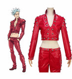 The Seven Deadly Sins Ban Cosplay Costume Ban Leather Coat Pants Custom Made