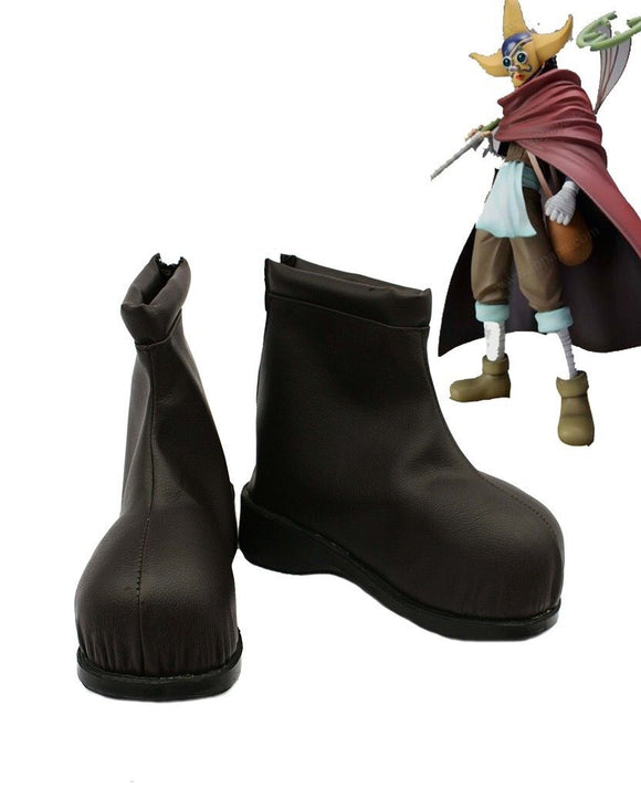 One Piece Usopp Cosplay Brown Shoes Leather Boots Custom Made