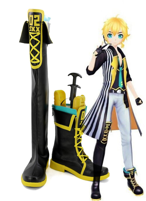 Vocaloid Hatsune Miku Kagamine Len Cosplay Boots Black Shoes Custom Made