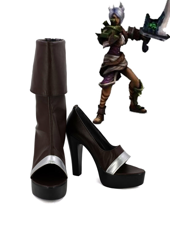 League of Legends LOL Riven the Exile Cosplay Boots Brown Shoes Custom Made