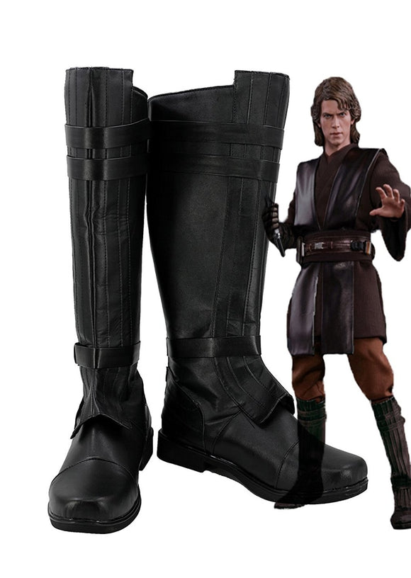 Star Wars Anakin Skywalker Cosplay Leather Shoes Black Boots Custom Made